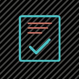checked, codument, paper, report, vote icon