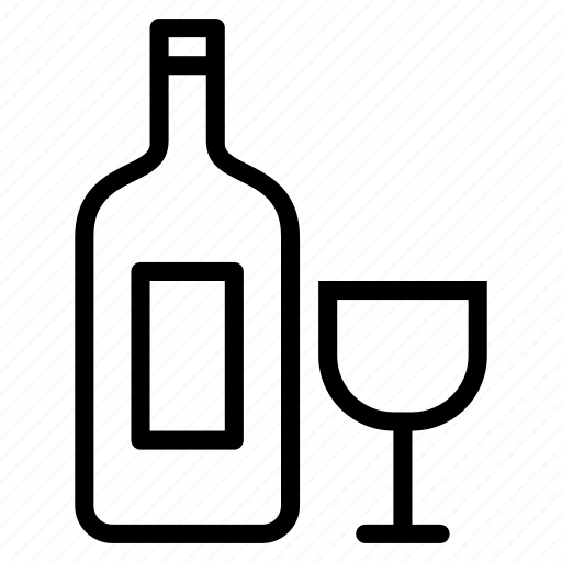 alcohol, bottle, drink, glass, liquor, wine icon