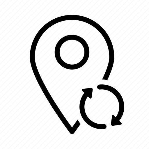 arrow, location, map, marker, pin, sync icon