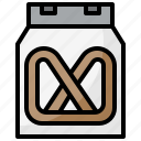 box, food, pack, package, pretzel, snacks icon