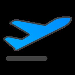 depart, plane icon