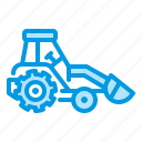 bulldozer, front, loader, tractor icon