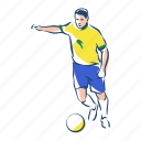 brazil, ball, football, player, sport, soccer, footballer