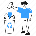 recycle, social, activism, bin, man, sign, throw, bottle, plastic icon