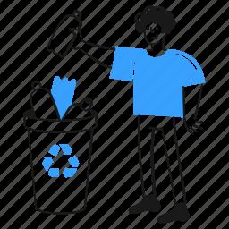 recycle, social, activism, bin, man, sign, throw, bottle, plastic