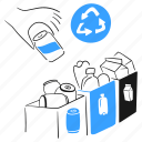 recycle, social, activism, separate, can, bottle, paper, bin, sign icon