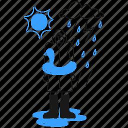 weather, social, activism, heavy, storm, rain, rubber, duck, man