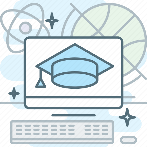 computer, distance learning, education, graduation hat, monitor, tutorial icon