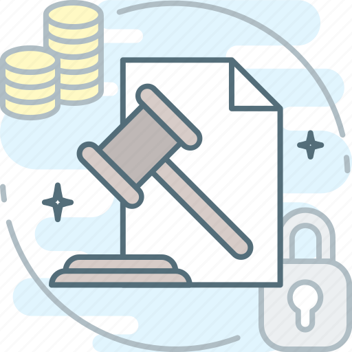 auction, claims, hammer, judge, justice, require, sanctions icon