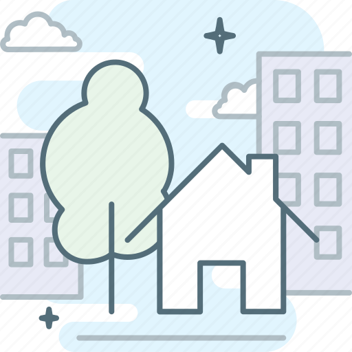 city, home, house, housing, town, tree, utilities icon