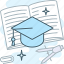 distance learning, education, graduation hat, learning, tutorial icon