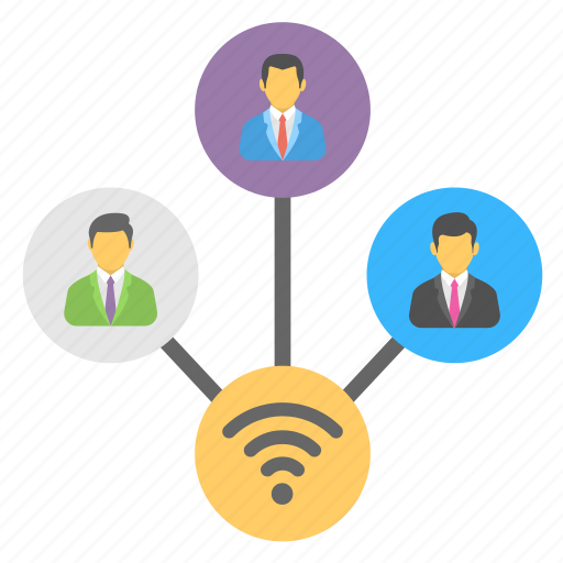 digital community, internet technology, online sharing, shared network, wifi connected group icon