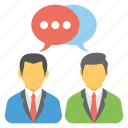 negotiation, official conversation, professional dialogue, business chat, business communication icon