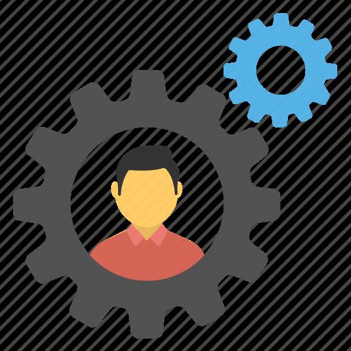communication process, information management, man in cog, social network, teamwork icon