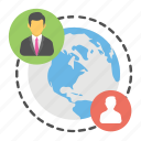 global network, communication technology, worldwide connection, web connection, data exchange icon
