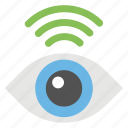 monitoring, network availability, signals sight, vision, wireless technology icon