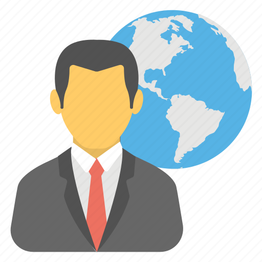 business connections, global business, man with globe, networking technology, worldwide business icon