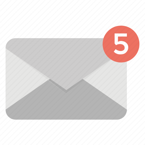 communication concept, email notification, five new message, mailing alert, new mails received icon