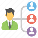 business network, delegating tasks, organizational structure, team hierarchy, team leader icon