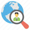 searching staff, talent hunt, human resource, employment, worldwide recruitment icon