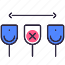coronavirus, distancing, prevention, protect, secure, social, toilet icon