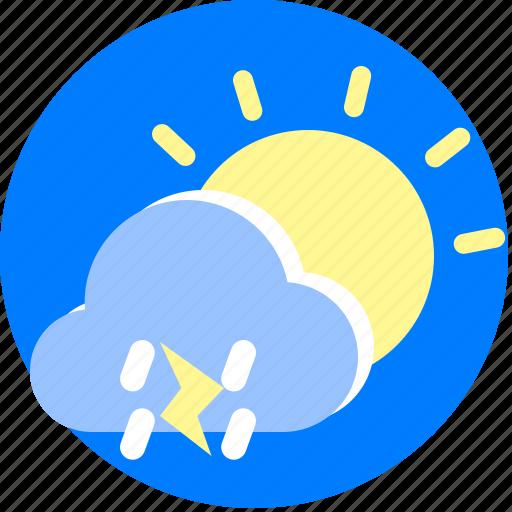 day, lightning, rain, rainy, weather icon