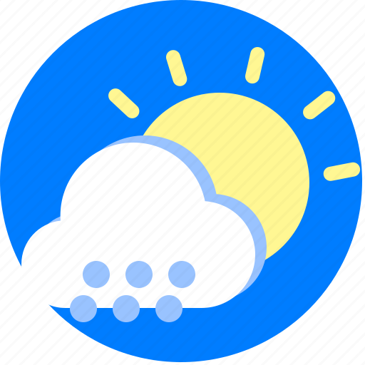 cloudy, day, snow, snowy, sun, weather icon