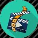 camera, clapperboard, film, media, movie, multimedia, play icon