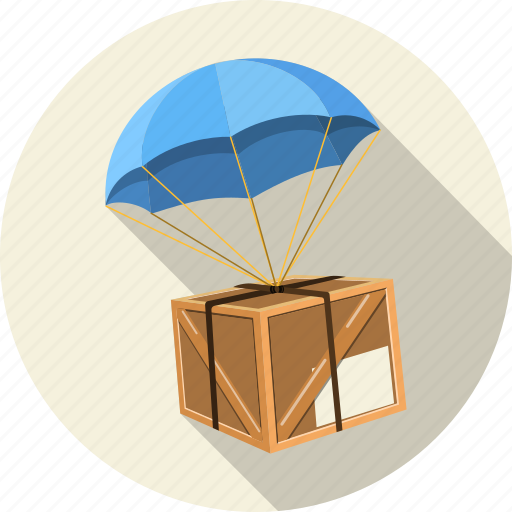 box, business, container, delivery, parachut, postal, service icon