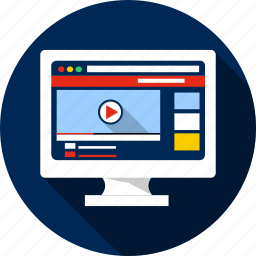 connection, display, play, sound, technology, video, you tube icon