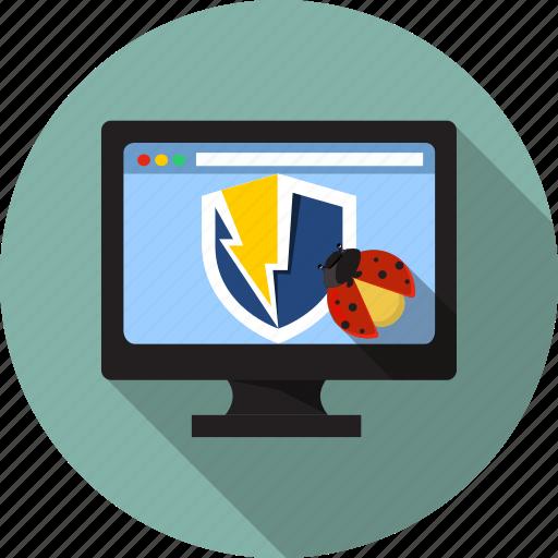 antivirus, bug, desktop, protection, security, shield, virus icon