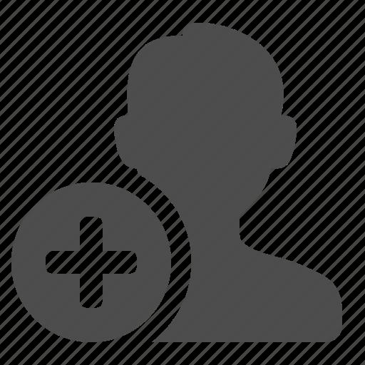 add, button, male, man, media, plus, social, user icon