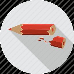 anger, broken, pen, pencil, tool, write icon