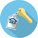 business, chain, house, key, private, real estate, sold icon
