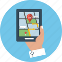 gps, hand, location, map, navigation, pin, tablet icon
