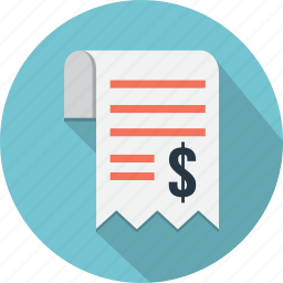 business, currency, payment, receipt, schedule, shopping icon