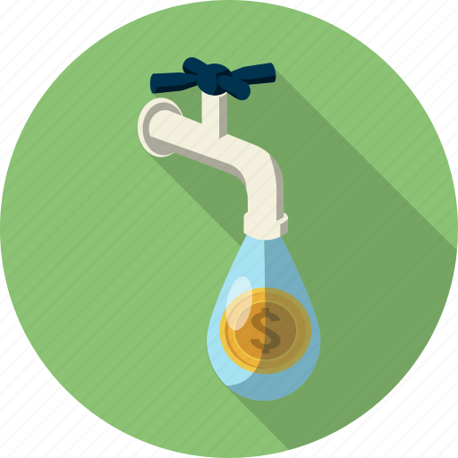 business, coins, drib, ecology, economy, faucet, tap icon