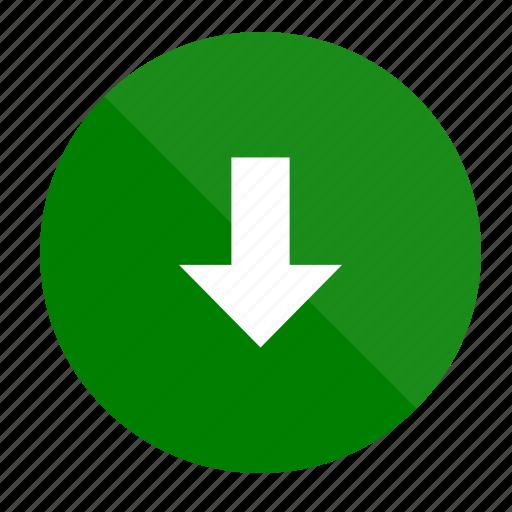 arrow, download, internet, media, seo, social, web icon