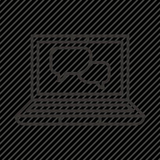 bubble, chat, comment, dialog, laptop, message, pc icon