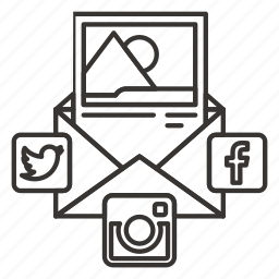 advertising, communication, connection, envelope, internet, media, message, networks, newsletter, social icon