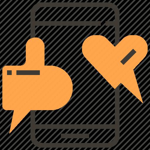 communication, interaction, like, media, smartphone, social, technology icon