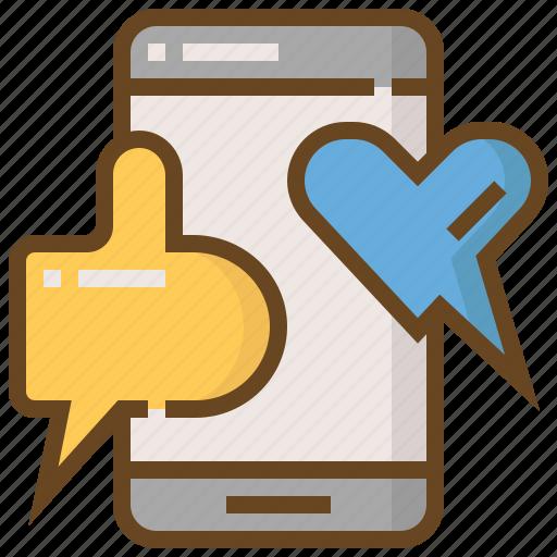 communication, heart, like, media, smartphone, social, technology icon