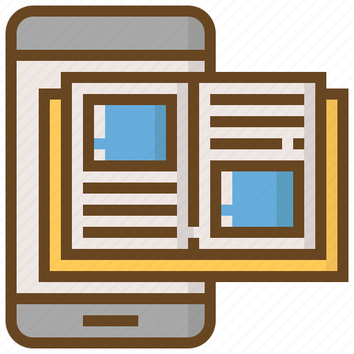 Communication, media, technology, social, content, smartphone, book icon