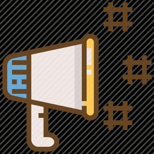 communication, media, megaphone, message, network, social, technology icon