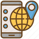 communication, global, media, pin, smartphone, social, technology icon
