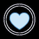 circle heart, heart, media, social icon