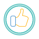 circle thumb, like, media, social, thumb icon