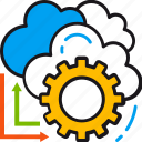 arrows, cloud, computing, gear, options, preferences, settings icon