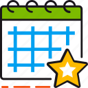 appointment, calendar, date, event, schedule, star, time icon