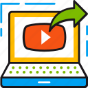 arrow, laptop, media, play, send, sharing, video icon
